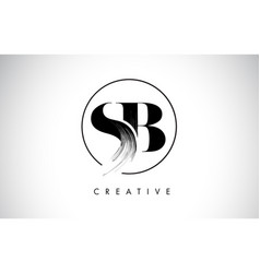 sb brush stroke letter logo design black paint vector image