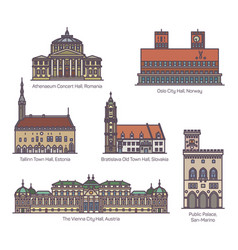set city hall architecture in thin line vector image