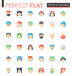 set of flat people avatars icons vector image
