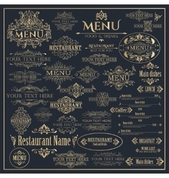 Set of golden design elements for Restaurant Menu vector image