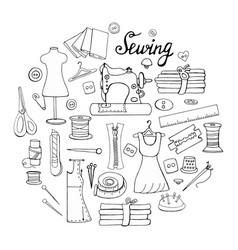 set of hand-drawn black and white elements for sew vector image