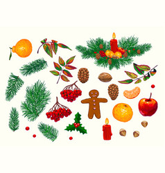 Set of hand-drawn christmas decorations vector