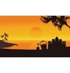 Silhouette of sand castle summer in seaside vector image
