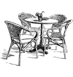 Sketch a table and wicker chairs in an outdoor vector