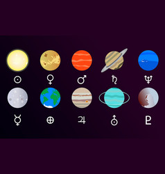 Solar system with sun and planet set vector