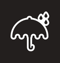 Stylish black and white icon rain and umbrella vector