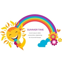 Summer of a happy sun rainbow and colorful flowers vector