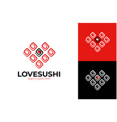 sushi roll with heart shape salmon and love vector image
