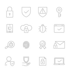symbols privacy icon set in linear vector image
