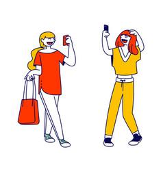 teens gadget addiction cellphone communication vector image
