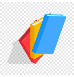 Three educational books isometric icon vector