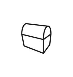 Treasure chest mono line logo design inspiration vector