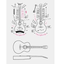 Trendy Retro Vintage Insignias with Guitar vector image