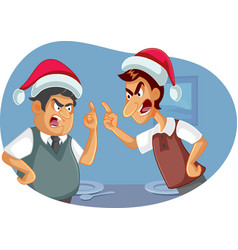 two men fighting on christmas over political views vector image