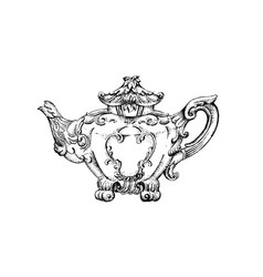 vintage teapot with floral decor made in hand vector image