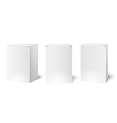 White blank cardboard package boxes mockup vector