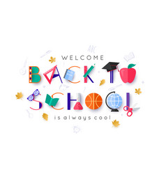 white welcome back to school banner with colorful vector image