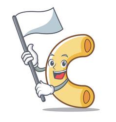 With flag macaroni mascot cartoon style vector