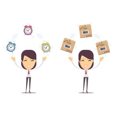 woman holding a clock and a cardboard package vector image