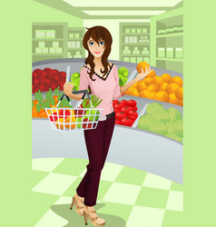 Woman shopping grocery vector
