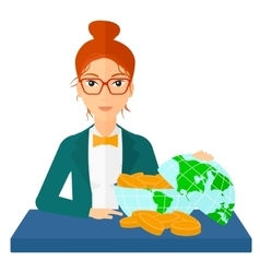 Woman with globe full of money vector