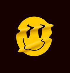Yellow distorted smile emoji isolated on black vector