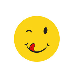 Yummy smile cartoon line emotion with tongue lick vector