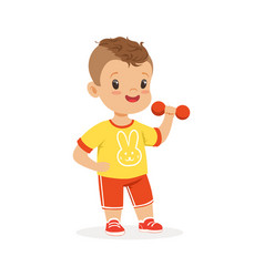 boy exercising with dumbbell kid doing sports vector image
