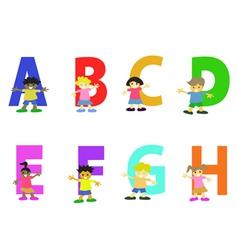 happy kids cartoon alphabet collection vector image vector image