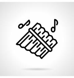 Pan flute simple black line icon vector image vector image