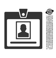 Person badge icon with people bonus vector