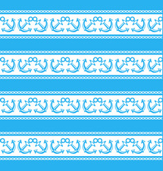 seamless pattern with anchors ongoing stripes vector image