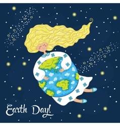 Cartoon Earth Day postcard vector image