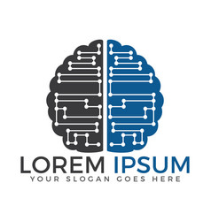 circuit brain logo vector image