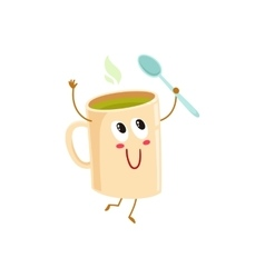 Funny green tea mug character holding a spoon vector image vector image