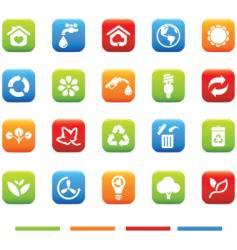 green icons environmental 4 color vector image