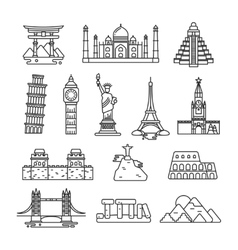 International country landmark line icons vector image
