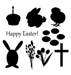 set of easter silhouettes on the white vector image vector image