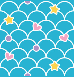 blue pastel cute scale seamless pattern with vector image