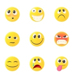 Emoticons for chatting icons set cartoon style vector image vector image