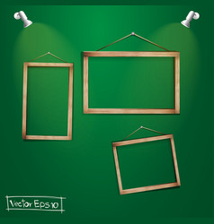 Wood frames on the green wall vector image vector image