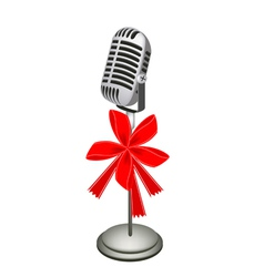 A Beautiful Retro Microphone Stand with Red Ribbon vector image