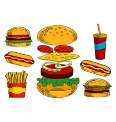 Cheeseburgers hot dogs fries and coffee sketches vector image