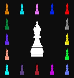 Chess bishop icon sign lots of colorful symbols vector