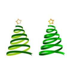 Christmas ribbon trees vector image