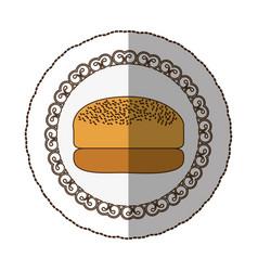 emblem hamburger bread icon vector image