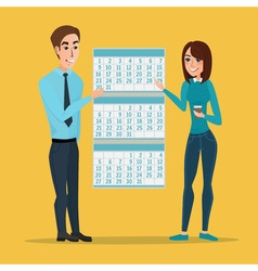 man and woman show Deadline and calendar time and vector image vector image
