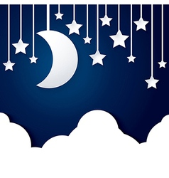 moon star and cloud paper vector image