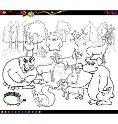 wild animals coloring book vector image