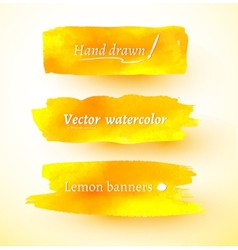 Yellow watercolor banners vector image vector image